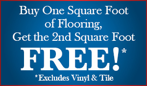 BOGO carpet sale!  Buy one square foot of flooring and get the 2nd square foot free!  Offer excludes vinyl & tile.